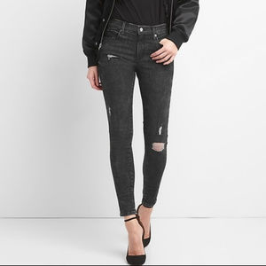 Mid Rise True Skinny Jeans in Sculpt with Destruct